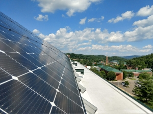 image of solar array on Frank Hall, Appalachian State University campus